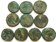 Lot of 10 AE Sestertii a small collections five Emperors from Antonine dynasty and their Wives / 29mm-32mm.