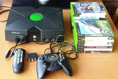 Microsoft XBOX console with controller, cable, DVD kit & 17 games