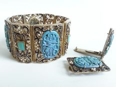 Filigree bracelet and two dress clips – 1920/1930