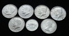 USA and Canada - 7 Different Silver Coins