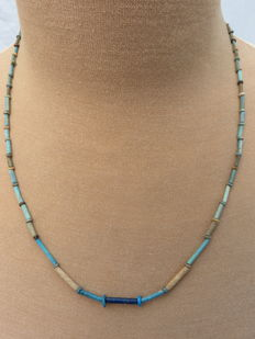 Egyptian necklace with faience and carnelian beads - 59 cm