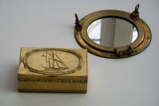 Copper porthole (mirror) and copper covered box sailing ship