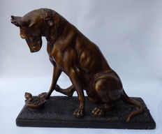 'Great Dane with little bird', Patinated plaster with bronze effect, after Antonio Amorgasti