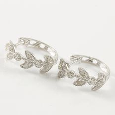 14kt White Gold  Earrings Set with Diamonds