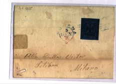 Italy, Modena, 1852 – 40 Cents without point – circulated on letter from Modena to Milan