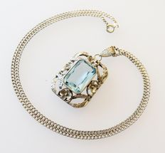 Solid silver pendant with aquamarine stone and 925 silver necklace