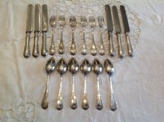 Aristocratic silver cutlery set for 6, Italy, early 20th century