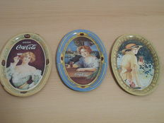 Lot of 3 vintage Coca Cola trays from the 1970s