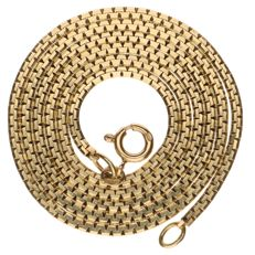 Yellow gold Venetian cut link necklace 14 kt - 56 cm