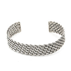 Sterling silver open cuff with braided design