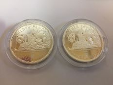 Germany – 2 pieces – China panda – 2016 coin – Berlin – 1st edition – 999 silver