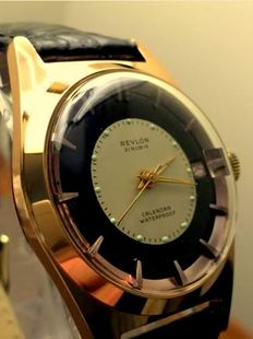REVLON bicolour gold-plated Swiss men's wristwatch, 1960s, new, never worn, N.O.S.