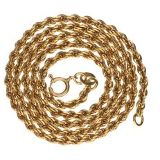 Yellow gold rope link necklace.