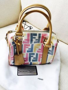 FENDI - Zucca - Small trunk / handbag shoulder bag - Multicoloured oilcloth and leather.