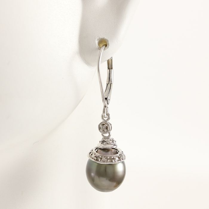 White Gold Earrings  with 8 mm Tahitian Pearls and Diamonds 0.12 ct