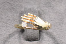 14 kt yellow gold ring with 5 diamonds, 0.090 ct