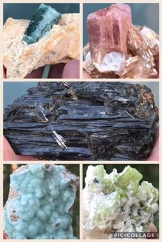 Collection of minerals, including among others: – blue tourmaline – rubelite – green tourmaline – black tourmaline – 3 to 7 cm – 264 g (5)