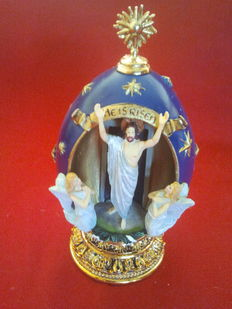 """Franklin mint - House of fabergè  """" he is risen"""" egg collector numbered signed, coa, original box"""