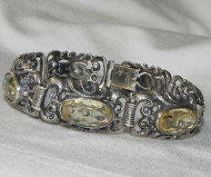 Silver bangle with citrine, genuine natural, hallmarked with 835 circa 1930