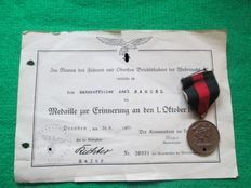 3rd Reich, medal October 1, 1938 with award certificate WWII