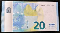 European Union - France - 20 Euro 2015  Draghi - MISPRINT - WHITE STRIP on reverse  -  ERROR  NOTE