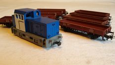Märklin H0 - From set 29262 - Diesel/Shunting locomotive and 8 low side cars