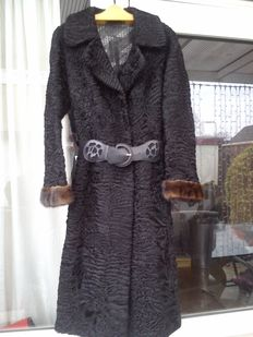SWAKARA long fur coat, astrakhan with mink cuffs
