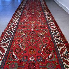 Beautiful XXL Sarouk Persian runner – 452 x 92 – with certificate – unique opportunity!