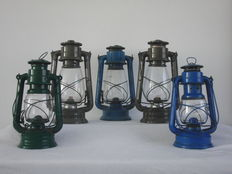 5 old oil storm lamps - tjechie - poland - germany