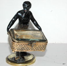 A Napoleon III partly gilded and cold-paint patinated jewelry box - with blackamoor - France - second half 19th century