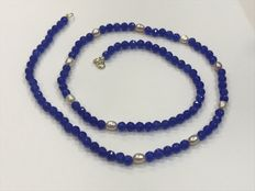 Sapphire necklace with pearls and 18 kt gold