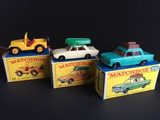 Lesney Matchbox - Misc. scales - Ford Corsair with Boat No.45, Fiat 1500 No.56 and Standard Jeep No.72