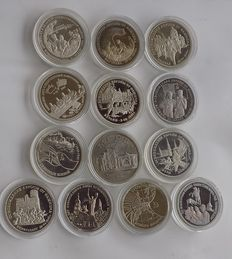 Russia – 13 commemorative coins, 5 Rubles (1) and 3 Rubles (12) – 1993/95, all different