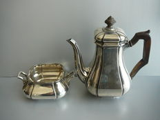 Silver mocha pot with rosewood handle and knob with matching sugar jar, Gerritsen & van Kempen, Netherlands - 1949