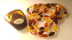 Genuine Baltic amber ring size 19,  + facet necklace