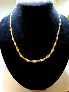 Large link gold chain necklace with cubic zirconia