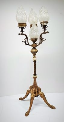 B.F.G. – bronze upright gas lamp, with glass flame-shaped lamp shades, France, around 1900