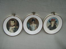Three portrait miniatures in ivory frames-Napoleon and two elegant ladies-probably France-circa 1900
