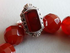 Necklace of hand-carved carnelian beads with matching ring