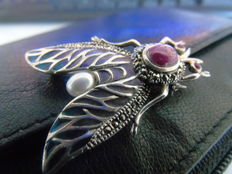 Art Deco silver with precious stones and enamel brooch