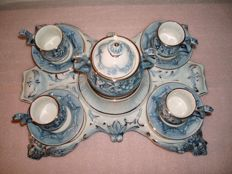 Espresso demitasse cups and saucers on a stand, decorated with a dragon's head and handle - R. Capodimonte Italy