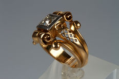 Art Deco ring – 18 kt gold with diamond, 0.50 ct.