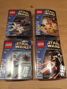 Star Wars - 4 sets amongst others 4484 + 4485 - X-wing Fighter & TIE Advanced - Sebulba's Podracer & Anakin's Podracer - Mini