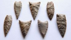 Lot with seven Neolithic arrow heads - 32-42 mm (7)