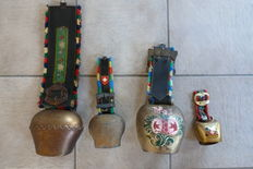 Lot of 4 cow-bells from Switzerland and Germany