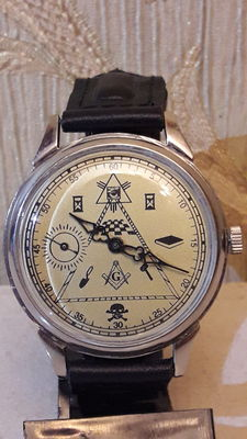 Masonic '' Molnija ''- ultra slim , 18 Jewels .Mens Watch - USSR  1947-1970's.