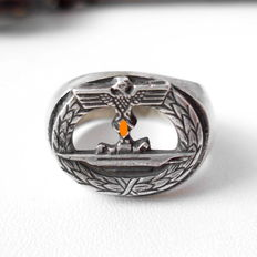 Commemorative ring made of 800 silver, Kriegsmarine WW2