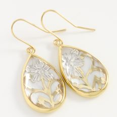 Estate 14kt Yellow & White Gold  Earrings with Clear Crystal