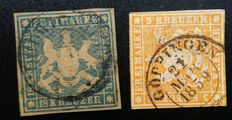 Wutenburg 1859/1867 - 18kr blue and 3 kr yellow-orange
