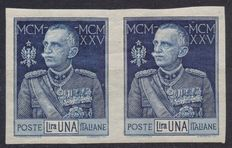 Kingdom of Italy – 1925 – King's Jubilee – Pair of one lira stamps – Blue – Not perforated – Sassone 187e
